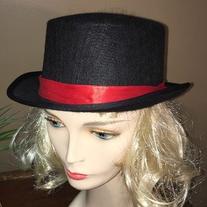 Black red ribbon Fabric costume top hat NEW w tags